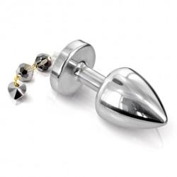 Plug analny zdobiony - Diogol Anni Butt Plug Torrent Silver Plated 30 mm Srebrny