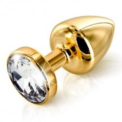 Plug analny zdobiony - Diogol Anni Butt Plug Round Gold 35 mm Złoty