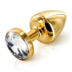 Plug analny zdobiony - Diogol Anni Butt Plug Round Gold 30 mm Złoty