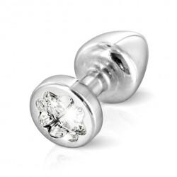 Plug analny zdobiony - Diogol Anni R Butt Plug Clover Silver 25 mm Srebrny