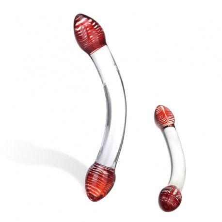 Szklane dildo - Glas Red Head Double Glass Dildo