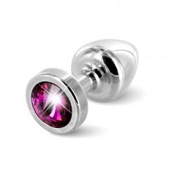 Plug analny zdobiony - Diogol Anni Butt Plug Round Silver & Pink 25 mm Srebrny z różowym