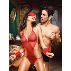 Przebranie niewolnicy - Baci Love Slave Set Fishnet Red One Size czerwony